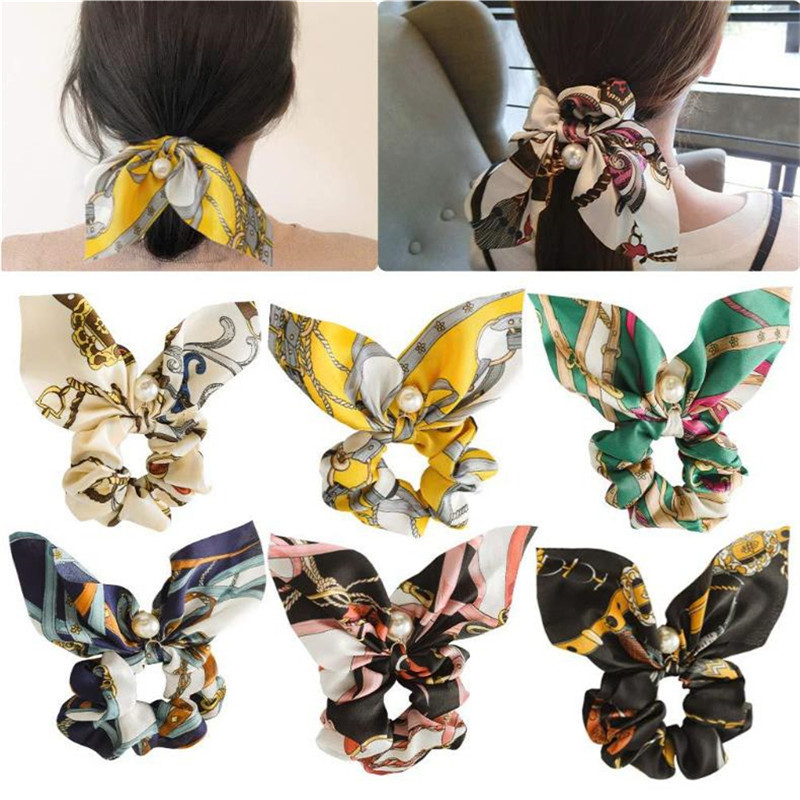 Pearl Beads Bow Streamers Polyester Hair Bands Ring Hair Scrunchies Ponytail Ties Headwear Women Hair Accessories