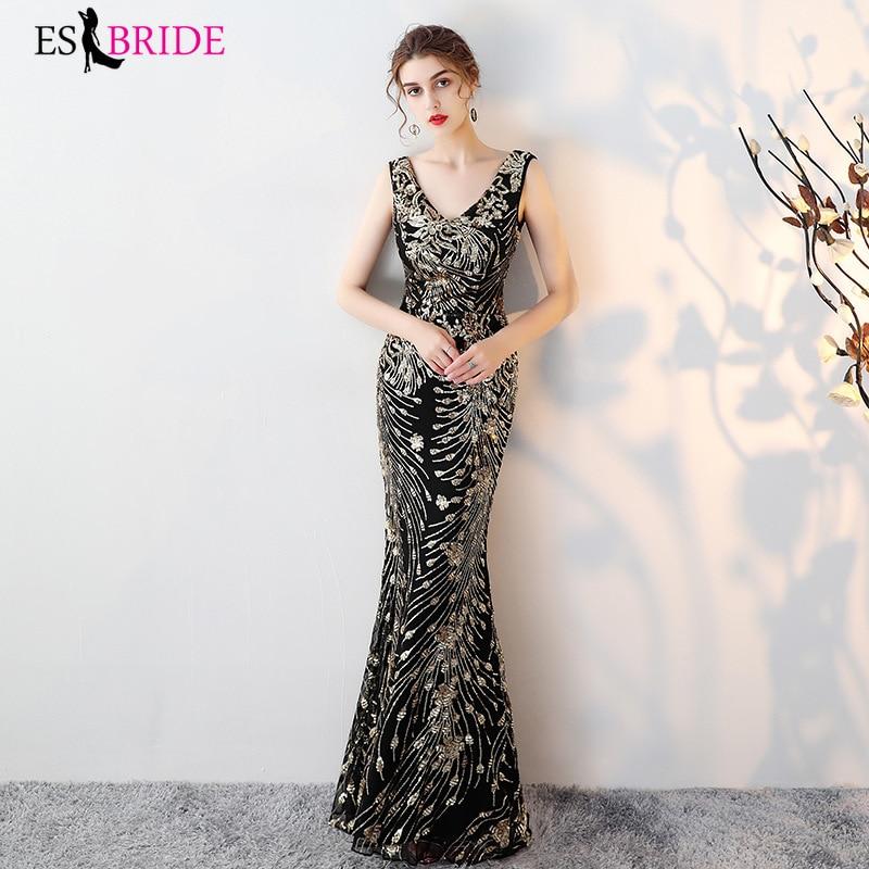 Black Mermaid Evening Dresses Long 2019 Gold Sequin Double V-neck Elegant Sleeveless Formal Party Gowns Vestidos Festa ES1364
