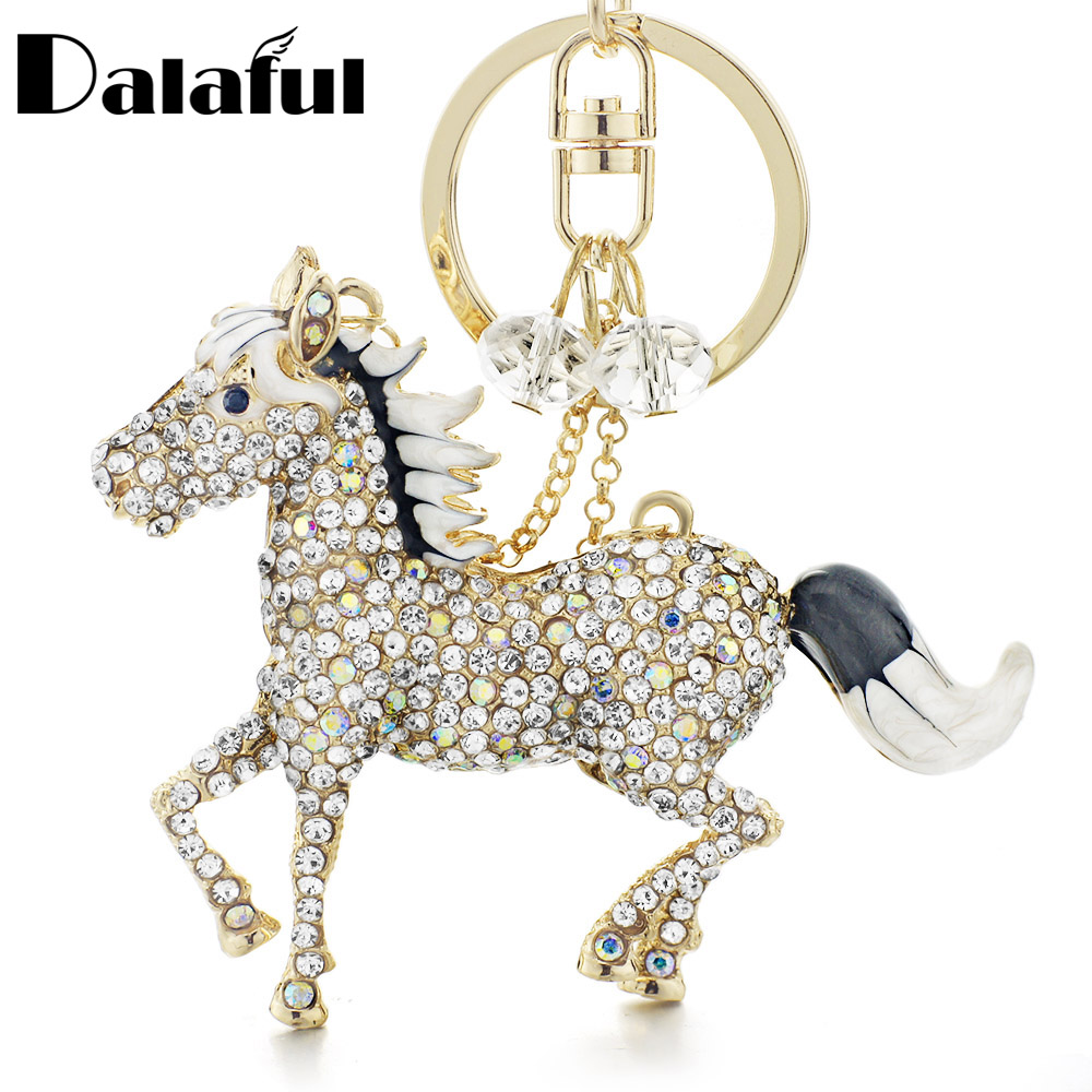 Dalaful Chic Horse Keychains  Keyrings AB Crystal Simple Beads Bag Pendant For Car Women Key Chains Holder Rings K317