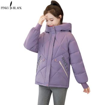 PinkyIsBlack Women Winter Jacket Loose Parkas Patchwork Thickening Warm Coat Hooded Female Down Cotton-padded Short Jacket Coat women s thick warm long winter jacket women parkas hooded cotton padded winter coat female