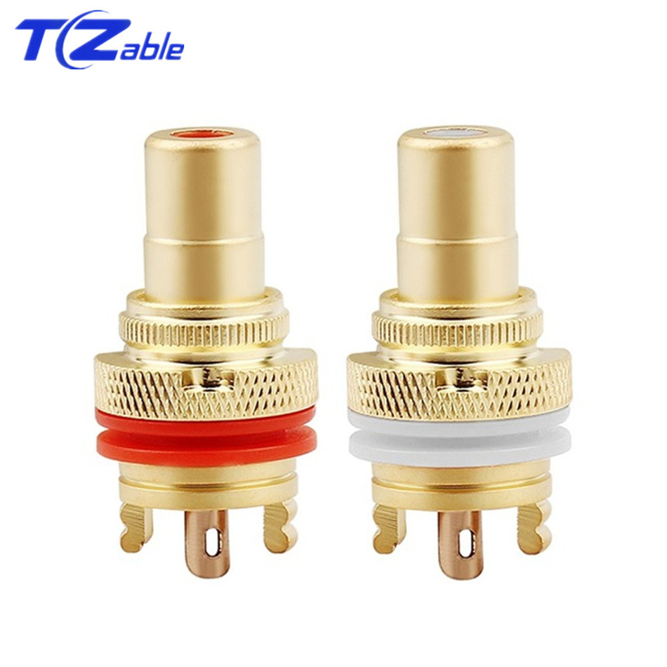 RCA Plug Connector Female Socket Chassis CMC Connectors Bright/Dumb Plated Copper Jack 32mm HiFi White Red Audio JacksPlug & Connectors   -