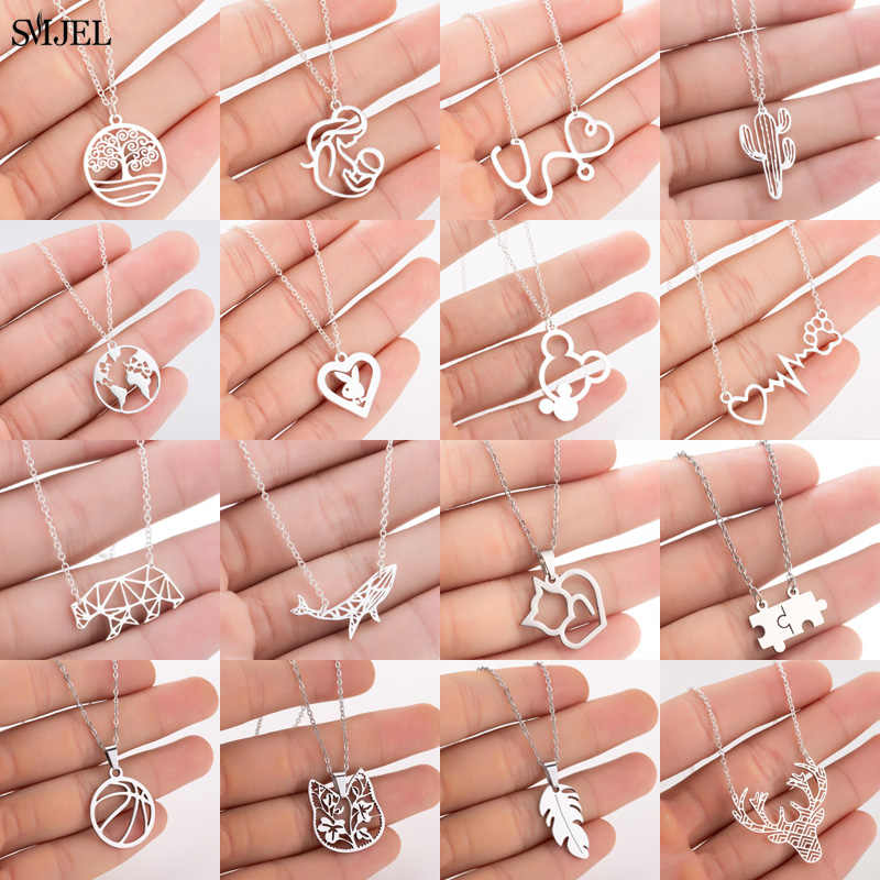 SMJEL Women Stainless Steel Mickey Necklace Fashion Everyday Necklace Mouse Cat Bear Map Ocean Wave Tail Rabbit Jewelry Mom Gift