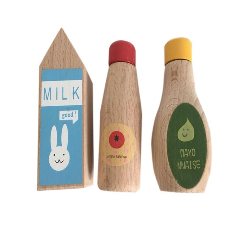 Wooden Simulation Milk Sauce Bottle Kitchen Food Cooking Pretend Play Game Kid Child Developmental Toys