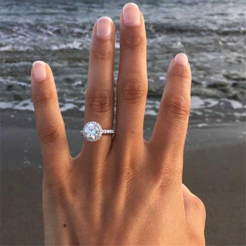 เงินงานแต่งงานแหวนสแควร์จำลองเครื่องประดับ Bague Bijoux Femme แหวนหมั้นอุปกรณ์เสริม