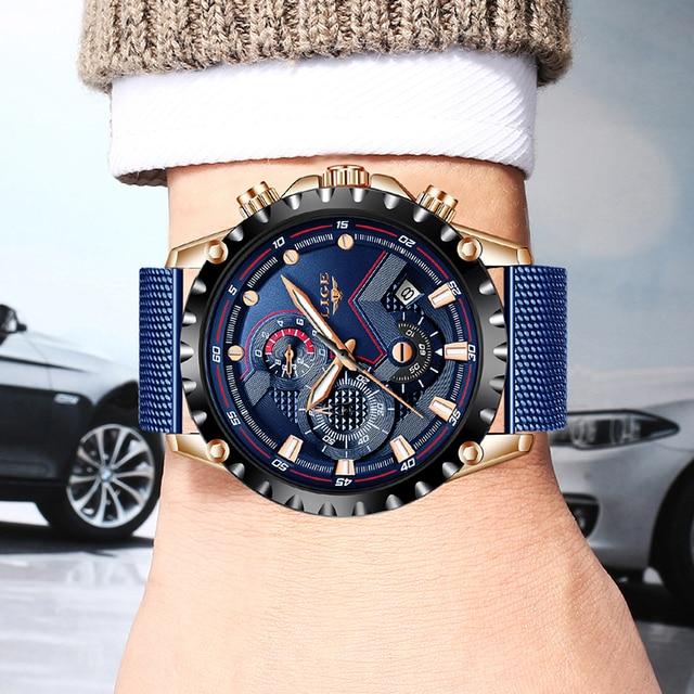 Фото 2020 lige новые мужские часы синие роскошные брендовые наручные