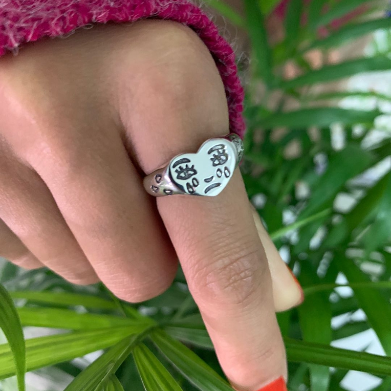 Silvology 925 Sterling Silver Sad Face Tears Cry Rings Simple Creative Funny Heart Rings For Women Friendship Jewelry Charm Gift