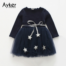 Girls Dresses Autumn Long Sleeve Kids Princess Dress Costume Star Children Clothing Casual Girls Clothes Christmas Girl Dresses