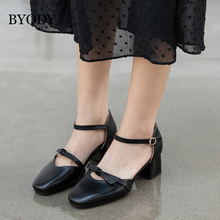 BYQDY Japan Anime Women Lolita Shoes School Students Girl Uniform Shoes Buckle Square Heels Mary Janes Med Heel Cosplay Shoes mixed color polka dot mesh upper girl nude shoes square toe black suede buckle mary janes shoes middle chunky heel shoes women