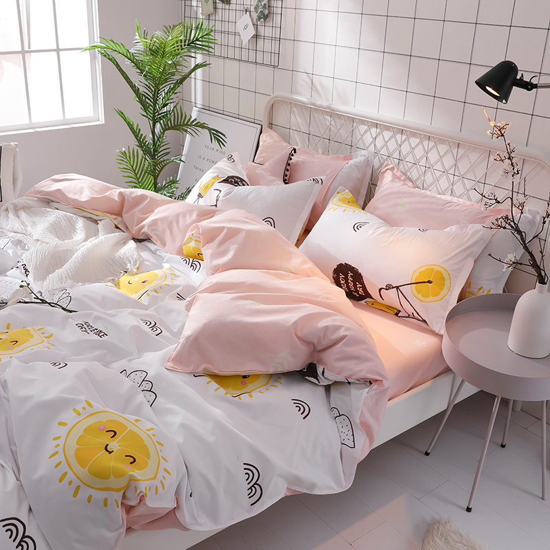 Girl Heart Denim Bedding Kit Bed Sheet Student Dormitory Beddings Three-Piece Set Single Quilt Cover Sheets