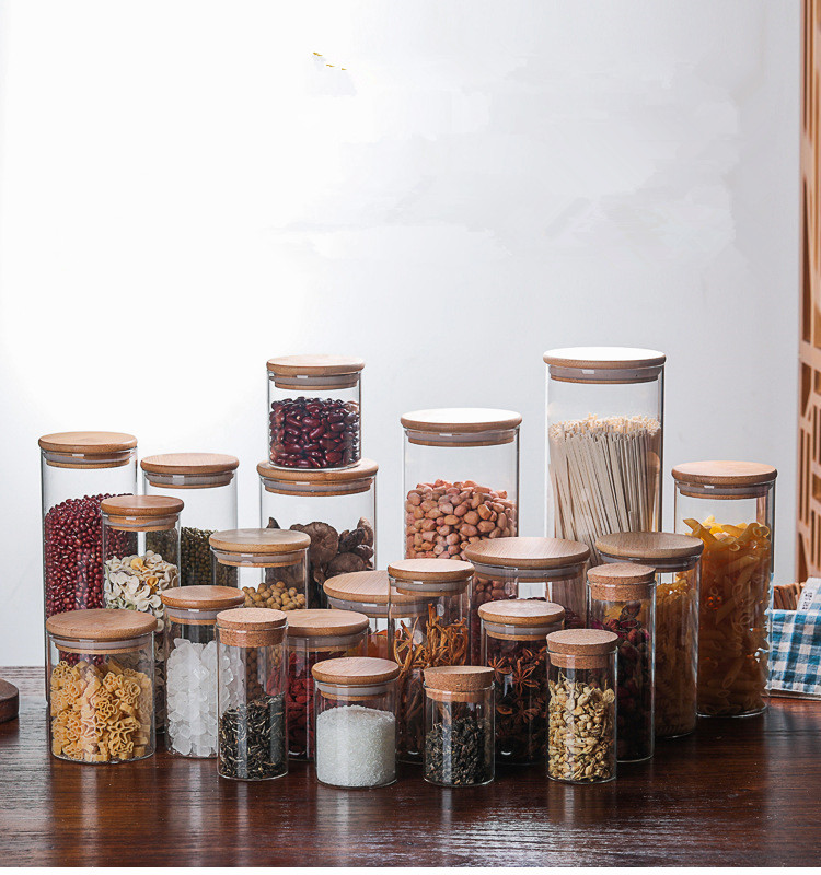 Glass Food Storage Bottle Bamboo Cover Sealed Grains Nuts Tank Can Kitchen Sorting Storage Box Container Coffee Beans Spices Box