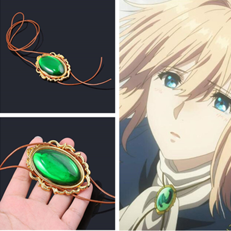 Anime Violet Evergarden Necklace Cosplay Costumes Accessories Green Gem Badge Necklace Amulet