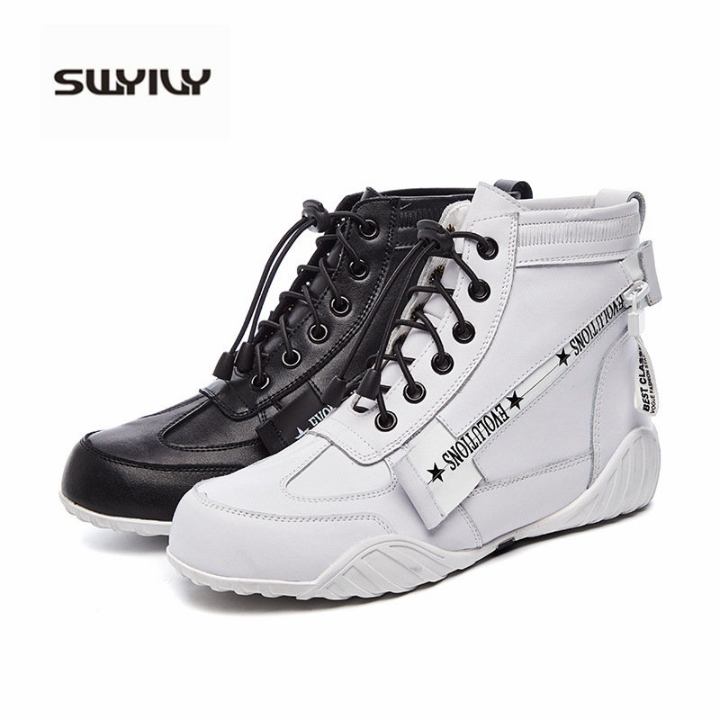 SWYIVY Women Sneakers 2019 New Autumn Genuine Leather Shoes Woman Flats High Top Sneakers White Casual Shoes Hip Hop Fashion