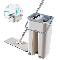 Hand free Washing Mop Fiber Cleaning Cloth Home Kitchen Wooden Floor Automatic Lazy Fellow Mop Flat Squeeze Mop