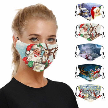 1 PC Adult's Prints Protection Face Mask Washable Earloop Mask Christmas Theme Print Anti Fog Haze Pollen Breathable Party Mask image