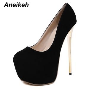Aneikeh Sexy 2020 Platform Pumps Wedding Women Fetish Shoes High Heel Stripper Slip-On Flock Pumps 17 cm Zapatos Mujer