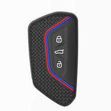 Силиконовый чехол для ключа с полной защитой, чехол для ключа с 3/4/5 кнопками, Чехол-держатель для ключа с дистанционным управлением для VW ...