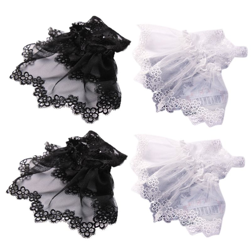 Korean Womens Autumn Fake Sleeves Embroidery Floral Lace Detachable Wrist Cuffs Embroidery Floral Lace