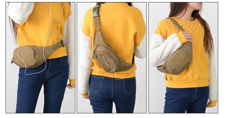 Adjustable belt custom fanny pack canvas Camouflage waist bag