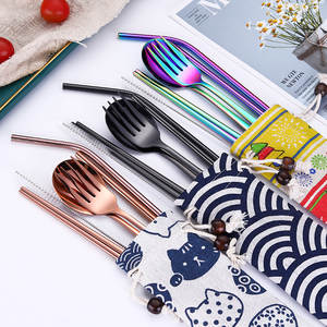 Korean Dinnerware Set Stainless Steel Portable Cutlery Chopsticks Fork Spoon with Metal Straws Cocktail for Travel Cutlery Set