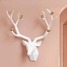 Resin Deer Head 3d Wall Decor Resin Statue Decoration Accessories Living Room Wall Statue Sculpture Mordern Art Animal Head