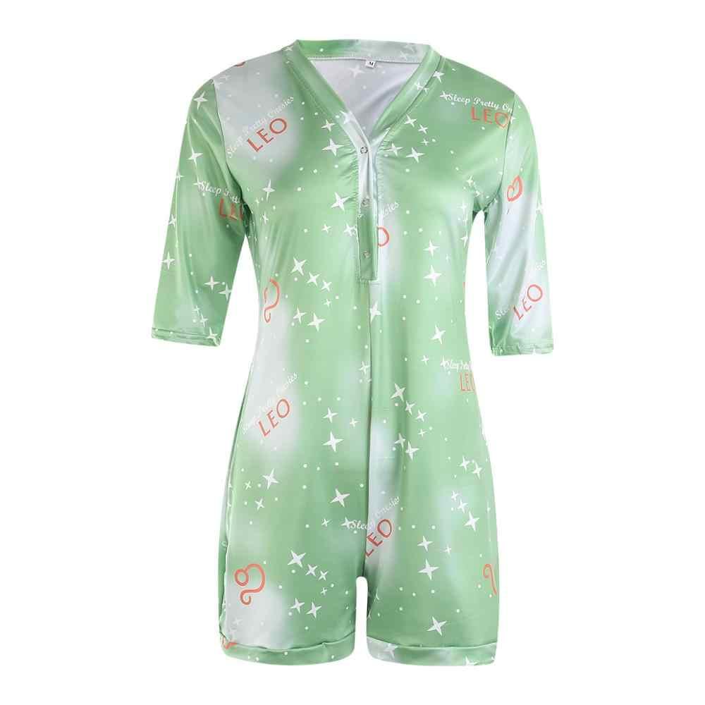 2020 Sexy femmes col en v moulante vêtements de nuit combinaison bouton body Shorts barboteuse justaucorps imprimé à manches longues/courtes body