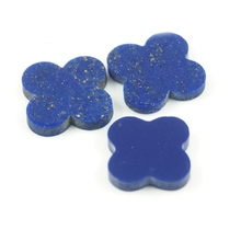 16*16 mm 50 Piece/a lot Four-leaf clover blue lapis lazuli stone for jewelry
