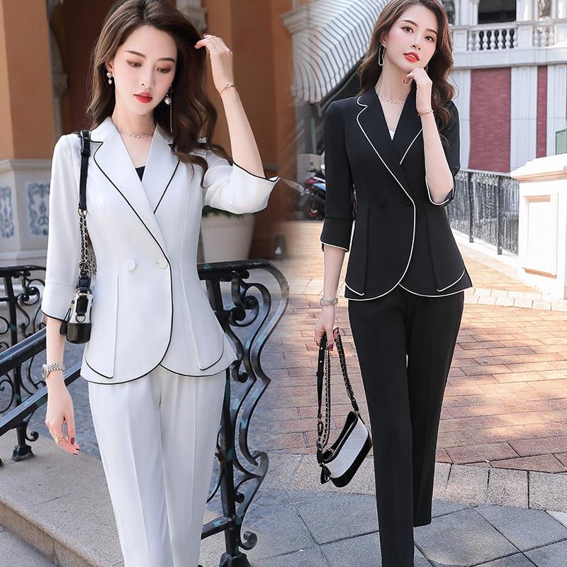 2020 Black White Fashion Female Elegant Women's Suit Set Blazer And Trouser Pant Business Uniform Clothing Lady Tops And Blouses