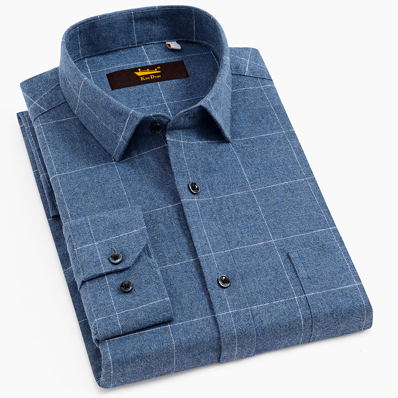 Men's 100% Cotton Brushed Plaid Checkered Shirt With Left Breast Pocket Long Sleeve Standard Fit Comfortable Warm Casual Shirts