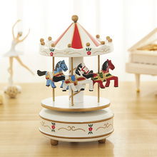Carousel music box kids birthday gift creative cartoon children s toys home craft wooden Christmas gifts