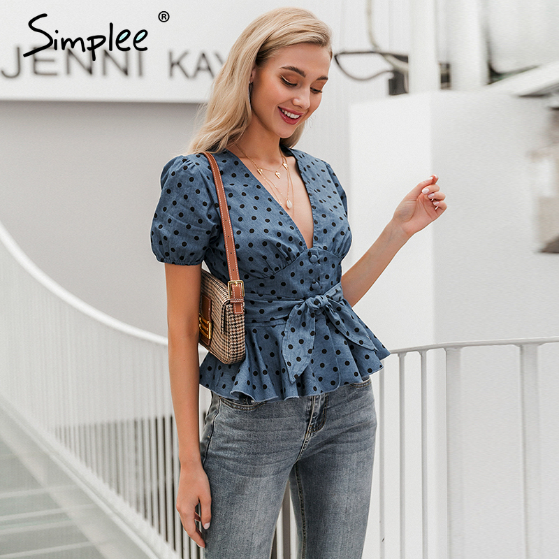 Simplee Vintage V Neck Polka Dot Women Blouse Shirt Sexy Holiday Beach Summer Female Tops Blue Sash Belt Buttons Party Tops