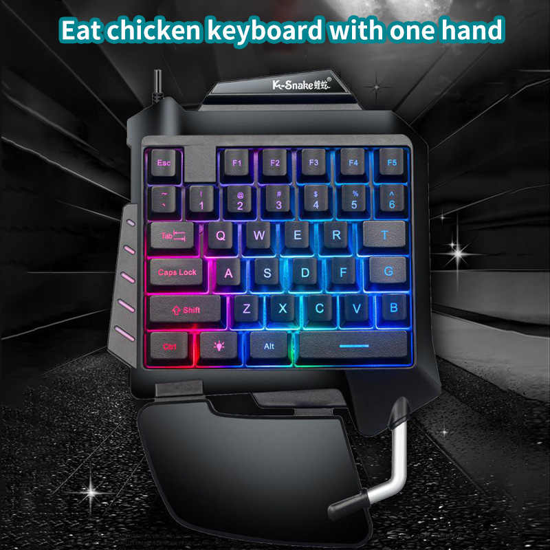 Gaming Keyboard One-Handed Mechanical LED Backlight Portable Mini Gaming Keypad Game Controller For PC PS4 Xbox Gamer