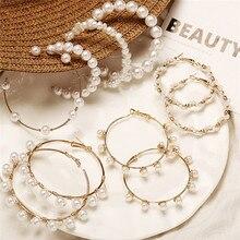 Винтажные большие серьги-кольца IF ME из белого золота с жемчугом для женщин и девочек, скрученный круг, большие круглые серьги, модные ювелирные изделия, Новинка
