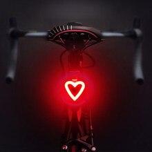 Luz de led traseira e recarregável de bicicleta, lâmpada de aviso de segurança noturna para ciclismo, 5 modos e mtb