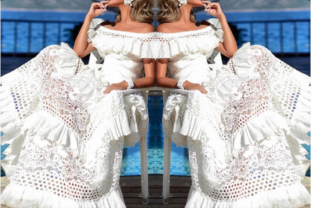 New Women Sexy Off Shoulder Hollow Out Bohemian Dress Fashion Pretty Lady Strapless Dress Floor-Length Sheath Lace Ruffles Dress 1
