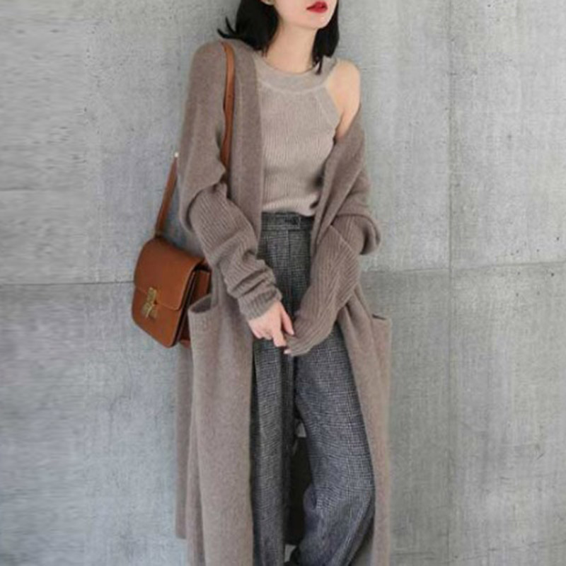 Women Winter Warm Knitted Cardigan Long Sweater Stretch Coat Outerwear TH36