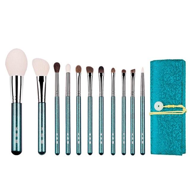 MyDestiny ensemble de pinceaux de maquillage, accessoire cosmétique, accessoire de beauté et stylo de beauté, 11 pièces, vert nacré, fourrure naturelle danimaux