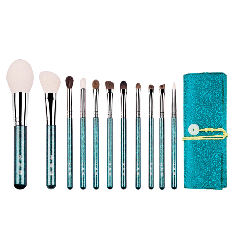 MyDestiny Makeup Brush-Pearly Green 11pcs Soft Natural Animal Fur Comestic Brushes Set-cosmetic Tool&beauty Pen For Beginers