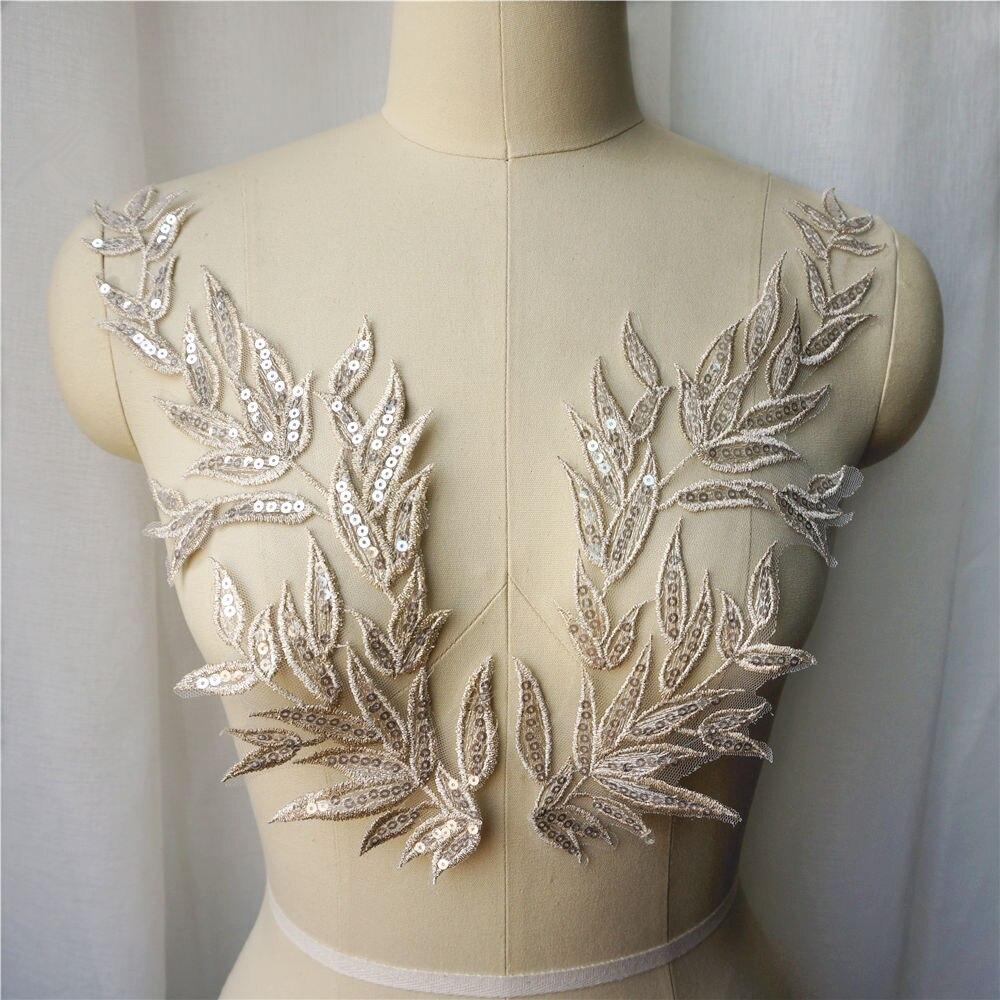 2PCS Light Gold Leaf ใบลูกไม้ผ้า Sequin ปัก Appliques ปกเย็บแพทช์สำหรับงานแต่งงานชุดตกแต่ง DIY