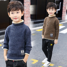 Children Clothing Baby Boys Turtleneck Sweater Solid Knitwear Autumn Winter Boys Warm Bottoming Knitted Pullover Sweaters 4-12T недорого