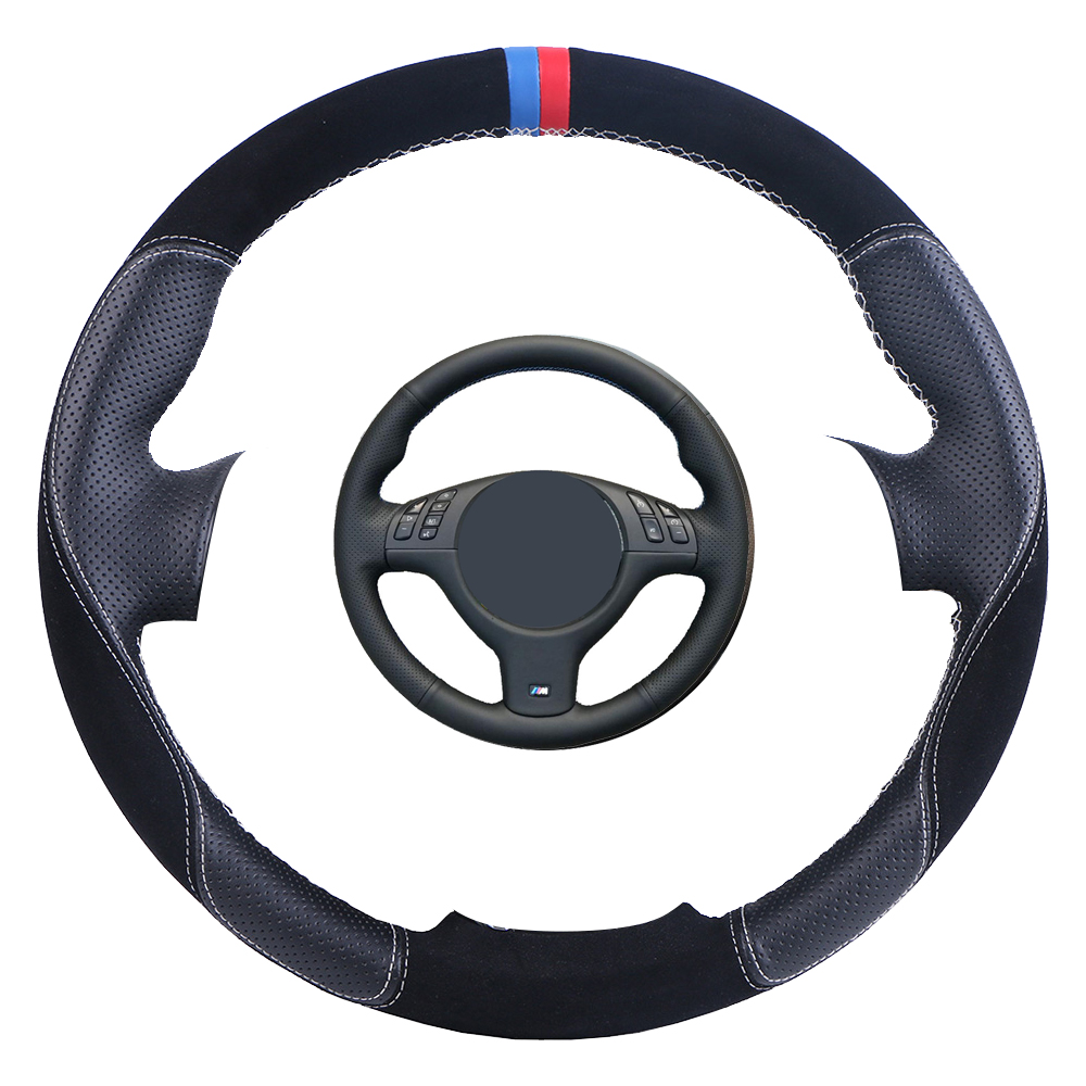 Car Steering Wheel Cover Black Artificial Leather for BMW E46 E39 330i 540i 525i 530i 330Ci M3 2001 2003