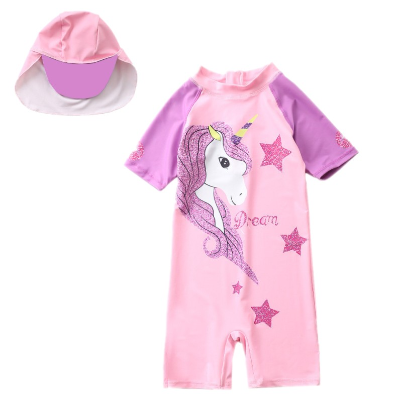 2020 Pink Unicorn Swimsuit Girl Children Swimming Suit Short Sleeve UV Protection One Piece Child Bathing Clothes Beach Wear