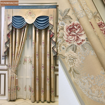 Custom curtains luxury New European high-precision jacquard shading yellow brown cloth blackout curtain valance tulle panel C051