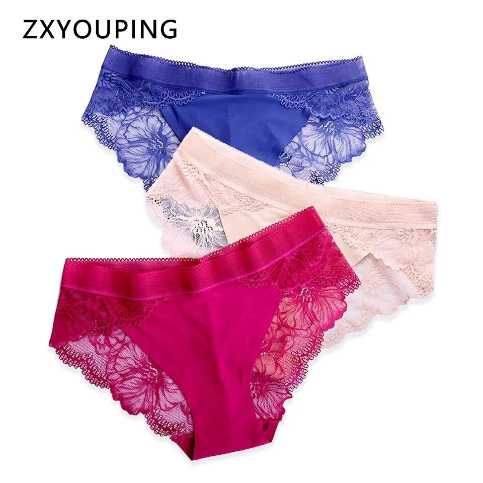 3pcs Women Seamless Panties High Waist Lace Lingerie Underwear Briefs Plus Size