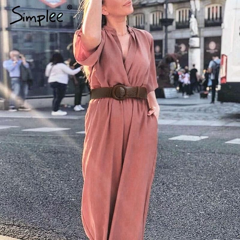 Simplee Sexy Deep V-neck Women Jumpsuit Romper Elegant Office Ladies Belt Jumpsuit Solid Soft Chic Female Playsuit Long Overalls