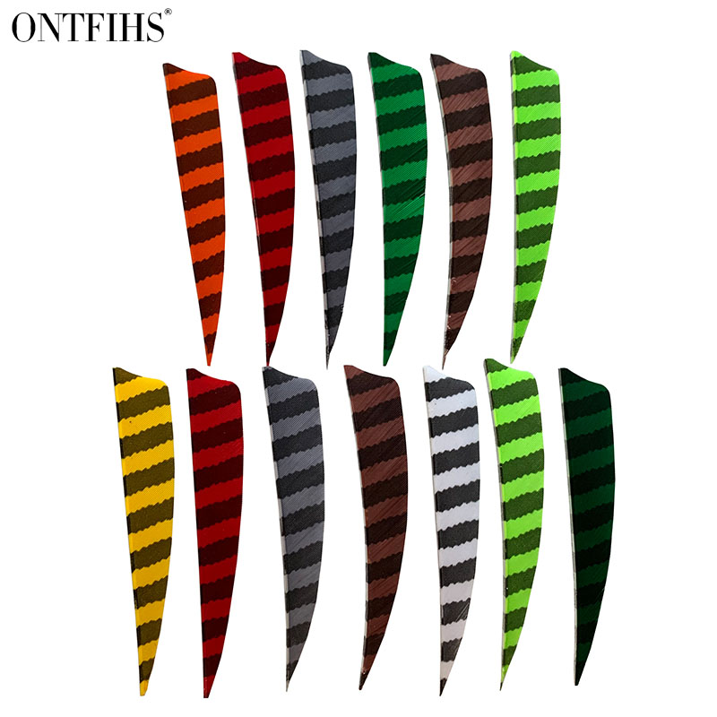 24 Pcs ONTFIHS 4 Inch Shield Cut Arrow Feathers Striped Real Turkey Cut Feather Archery  Accessories Fletching Feathers