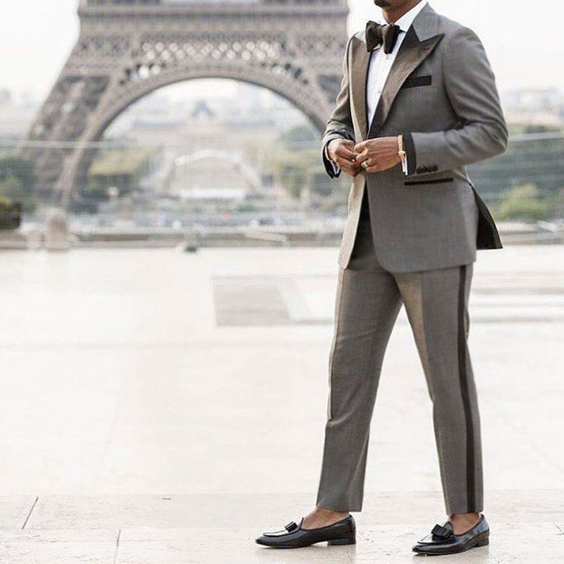 Custom Made Grey Suit Men 2019 Peaked Designs Men Attire For Wedding Groom Tuxedo Costume Homme Mariage Terno Masculino 2Piece