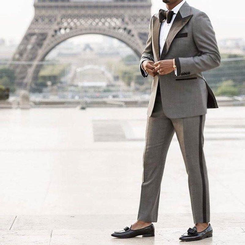 Custom Made Grey Suit Men 2019 Peaked Designs Men Attire For Wedding Groom Tuxedo Costume Homme Mariage Terno Masculino 2Piece