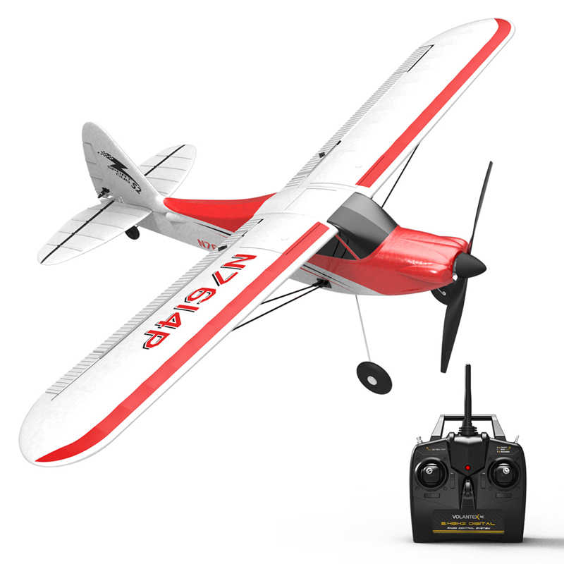 Volantex Olahraga Cub 500 761-4 500 Mm Lebar Sayap RC Glider Pesawat 4CH Satu Tombol Aerobatic Pemula Pelatih RTF Dibangun Di 6-Axis Gyro