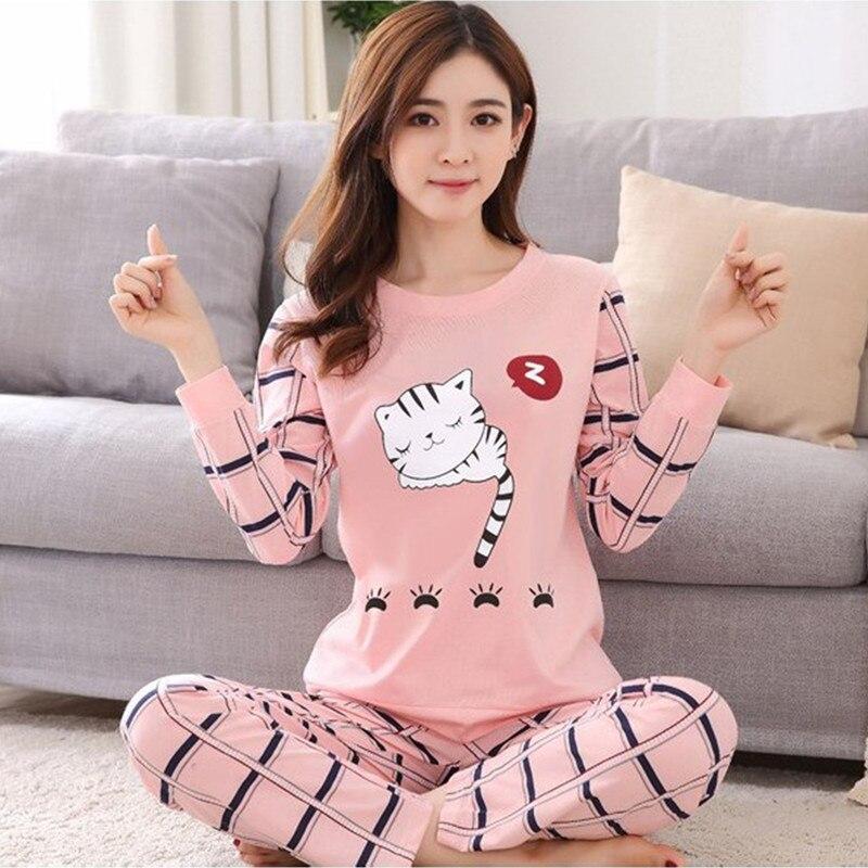 Pajamas with long sleeves new Women pyjamas set autumn ladies cute animal sleepwear woman's thin full length home clothing set