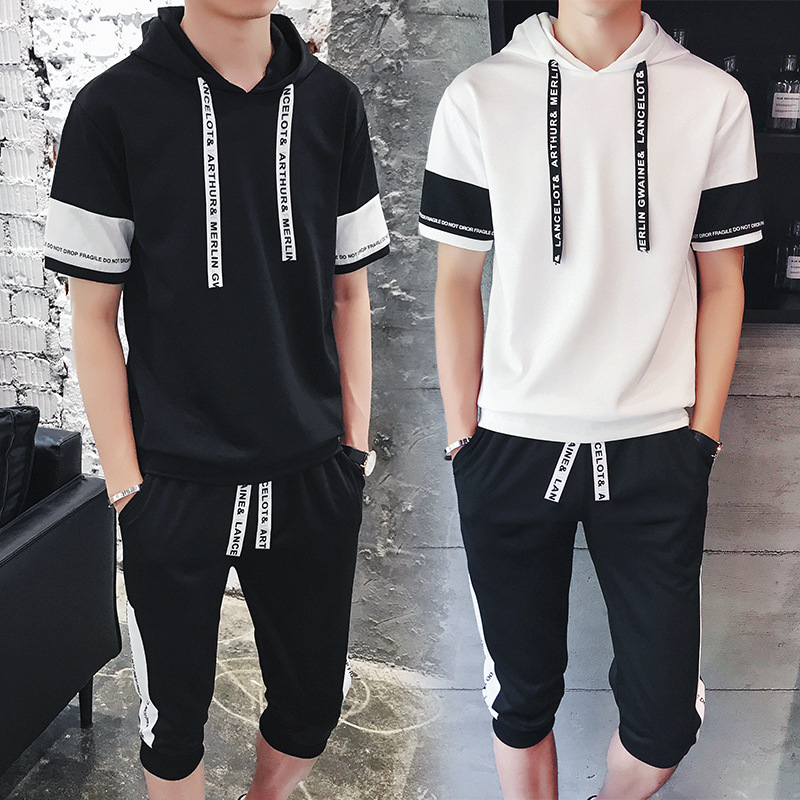 2018 Summer New Style Men Korean-style Casual Shorts T-shirt Suit Handsome A Set Of Hoodie Half Sleeve